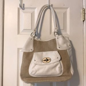Sigrid Olsen white leather and tan bag